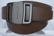 New Salvatore Ferragamo Men's Belt Logo Size 38 Gancini Brown Leather