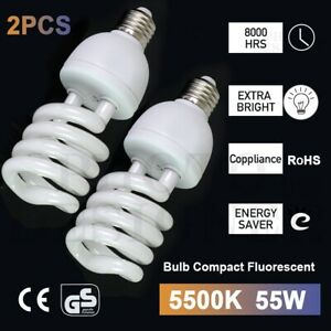2X 55W Photo Studio Light Daylight Lamp Bulb Continuous Lighting E27 220V 5500K