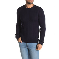 Slate and Stone Mens Blue Pullover Crew Neck Cable Knit Wool Blend Sweater XL