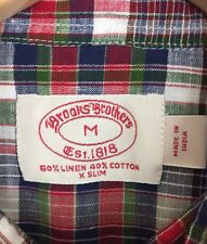 Brooks Brothers Men's X Slim Linen Blend Multi Color Plaid S/S Shirt Size Medium