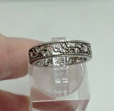 Zirconia Band Ring Size 6 Sterling Silver Filigree And Cubic