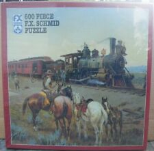 New Fx Schmid 600 pc jigsaw The Train Hold-Up 90304 Robbers Cowboys Sealed
