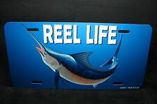 FISHING METAL NOVELTY LICENSE PLATE TAG FOR CARS AND TRUCKS REEL LIFE