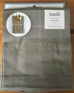 Dunelm Lustre Check Grey Set Of 4 40x40 Napkins 98% Cotton - NEW