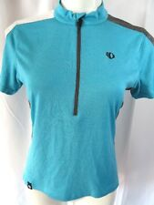 Pearl Izzumi Womens Medium Cycling Jersey Top Teal Blue S/S Zipper Neck Stretch