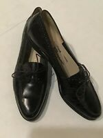 Salvatore Ferragamo Boutique Italy Made Womens 8 B Vintage Leather Black Shoes
