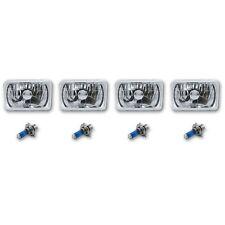 "4X6"" Crystal Clear Glass Halogen Headlight Headlamp 60/55w H4 Bulbs Set of 4"