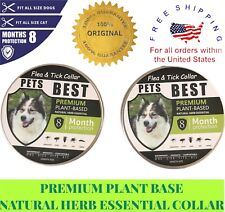 One Size Dog Cat Flea / Tick Collar Plant Based Natural Herb Essential - 2 Pcks