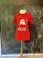 Vintage 70s Red White Wisconsin GOP Republican Party by Screen Stars size S