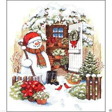 """Dimensions Counted Cross Stitch kit 12"""" x 14"""" ~ GARDEN SHED SNOWMAN #08817 Sale"""