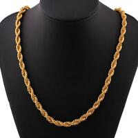 UK* 6mm Solid 24K Yellow Gold Filled Rope Chain Necklace Men Women Jewellery 20""