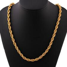 """UK* 6mm Solid 24K Yellow Gold Filled Rope Chain Necklace Men Women Jewellery 20"""""""