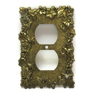 Brass Plated Ornate Electric Wall Outlet Plate Covers Vintage Mid-Century Japan