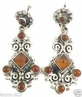 VINTAGE DESIGN TAXCO MEXICAN STERLING SILVER BEAD SCROLL AMBER EARRINGS MEXICO