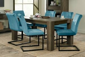 Constable / Sierra Fumed Oak 6 Seat Dining Set- Lewis Blue Velvet Cantilevers