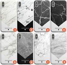 Diseño geométrico de mármol personalizables Delgado Funda de teléfono para | Personalizado De Granito Rock N
