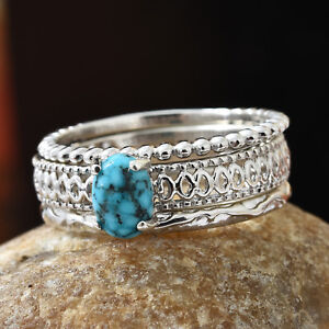 Kingman Turquoise Platinum Over Sterling Silver Ring (Size 9.0) TGW 0.75 cts.