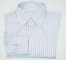 NWOT Barba Napoli Gold Label White Lavender Stripe Button Up Dress Shirt 17 43 L