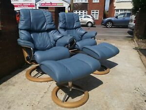 Ekornes Stressless Leather Recliner Pair Of Arm Chairs Reno On Signature Base