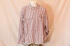 Men's Red/White Squared Button-Up Long-Sleeve by Red Head - Size XL