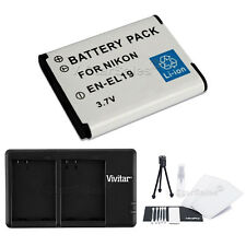 EN-EL19 Replacement Battery & USB Dual Charger for Nikon S5200 S6400 S6500