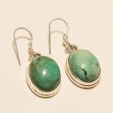 Real Natural Afghan Turquoise Earring 925sterling Silver Bohemian Tribal Jewelry