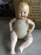 "Big Vintage 1920s Effanbee Composition Cloth Baby Boy Doll 18"" Tall"