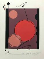 "Modern ABSTRACT Serigraph Print Atsuko Okamoto Contemporary Bauhaus 21"" x 30"""