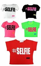 Girls #Selfie Crop Top Short Sleeve Kids Fashion Party Tops Red New 7-13 Year