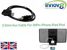 3.5mm Male to 30Pin Female for iPod iPhone iPad Dock Car Aux Audio Adapter Cable