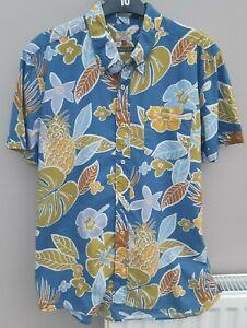 Next Mens Size L Large Holiday Shirt Tropical Print Short Sleeved