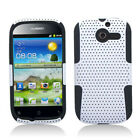 For Huawei Ascend Y H866C MESH Hybrid Silicone Rubber Skin Case Cover White