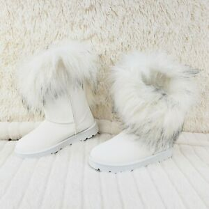 Furry Wite Faux Fur Lined Flat Winter Boots US Women's 7-11 Chi Chi