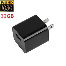 32GB 1080P USB Mini SPY Motion Hidden Wall Charger Camera US Adapter Plug Cam