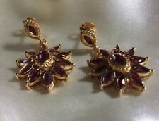 2.75 Ct, African, Ruby Earrings, Cluster, Dangle, 14K Gold Over Sterling Silver