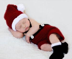 Newborn Christmas Santa Hat and Pants Photo Prop Outfits Christmas Photo props
