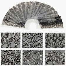 20pcs/pack Black Lace Flower Nails Transfer Foil Beauty Nail Art Stickers Decals