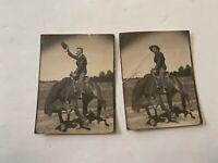2 circa 1920's Cowboy On Horse Black and White Photograph