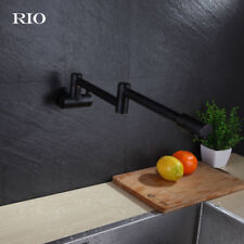 Oil Rubbed Bronze Wall Swivel Folding Spout Kitchen Faucet Cold Water Sink Tap