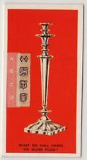 Silver Hallmarks  Purity Silversmith  Place Of Manufacture 75+ Y/O Trade Ad Card