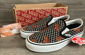 Vans Classic Slip-On Tiger Floral Black White Size 5.5 Women's New With Box