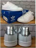 ADIDAS LADIES UK 4 EU 36 2/3 WHITE SILVER STAN SMITH TRAINERS PERFORATED