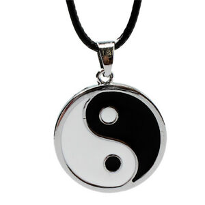 Stainless Steel Matte Finished Yin Yang Pendant Necklace PU Leather Chain
