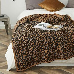 Leopard Print Knitted Blankets Winter Warm Faux Fur Microfiber Stich Bedspread