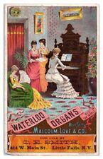 Ladies playing Waterloo Organ, C.E. Smith, Little Falls, NY Victorian Trade Card