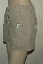 Sexy Brown Herringbone RIVER ISLAND Double Button Studs Back Lace Shorts 8 / 34
