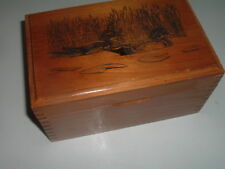 Vintage Large Carved Knotty Pine Mallard Duck Trinket Box w Brass Hinges