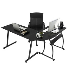 L Shape Computer Desk Study Office Home Furniture Black Work Station Laptop Pc