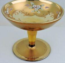 VINTAGE CZECH BOHEMIAN AMBER GLASS VASE COMPOTE HEAVY GOLD,ENAMEL FLOWER APPLIED