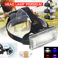 990000LM LED COB Headlamp Headlight Fishing Torch Flashlight USB Waterproof
